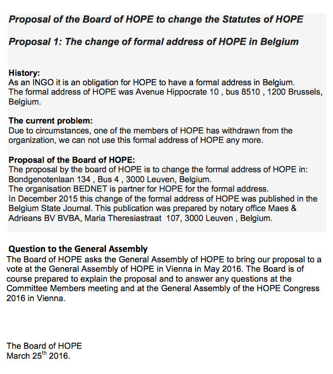 Motion for an Amendment of the HOPE Charter