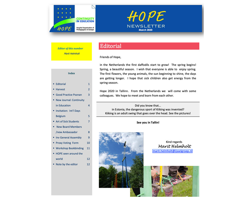 HOPE Newsletter March 2020