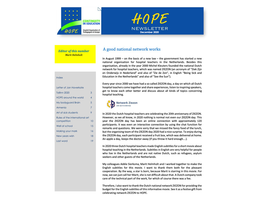 HOPE Newsletter December 2020