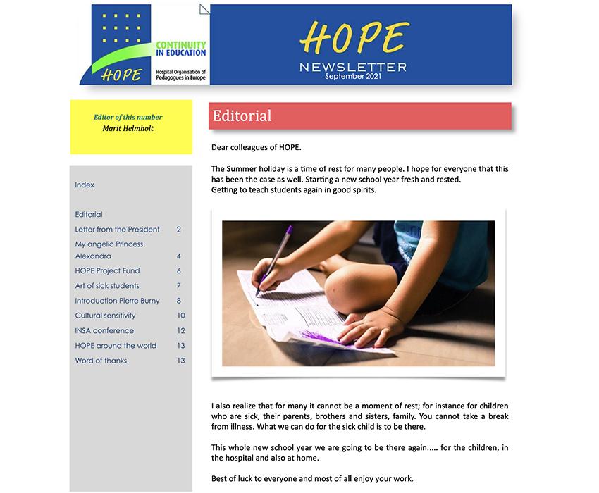 HOPE Newsletter September 2021