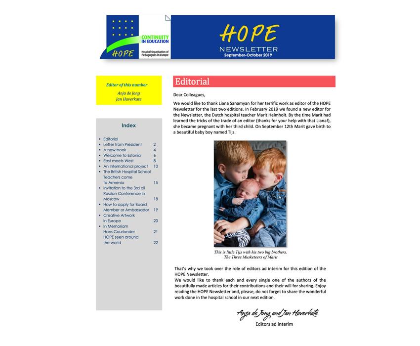 HOPE Newsletter September – October 2019