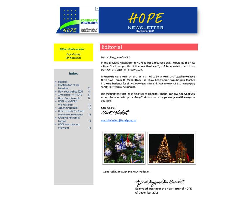 HOPE Newsletter December 2019